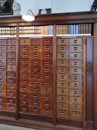Ancient card files in the old section of the main library in Copenhagen, Denmark