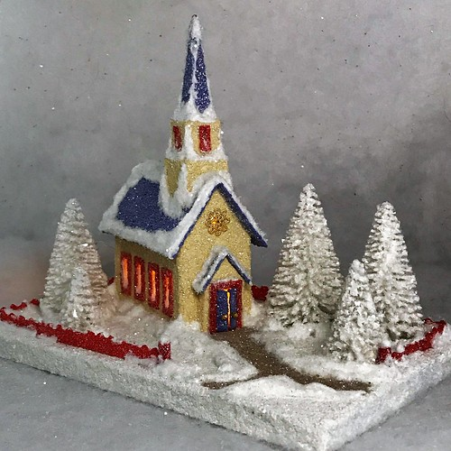MINI ivory and periwinkle Putz church