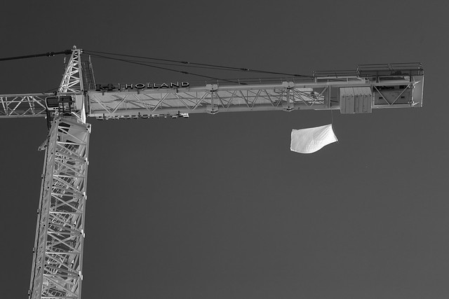 US Flag Mounted Below Crane