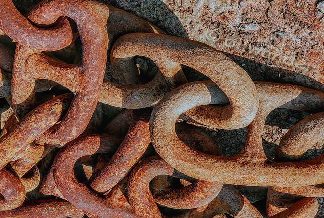 Greece, Piraeus, Drapetsona ship-dump, rusty chains