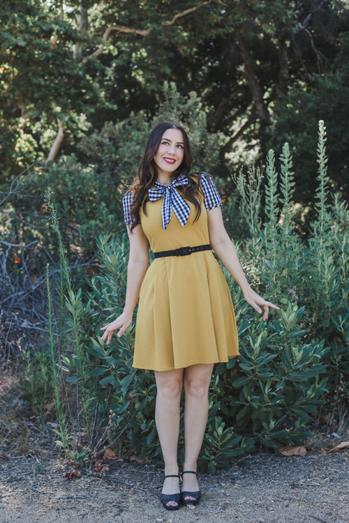 Smak Parlour Empower Hour Dress in Mustard and Black Gingham