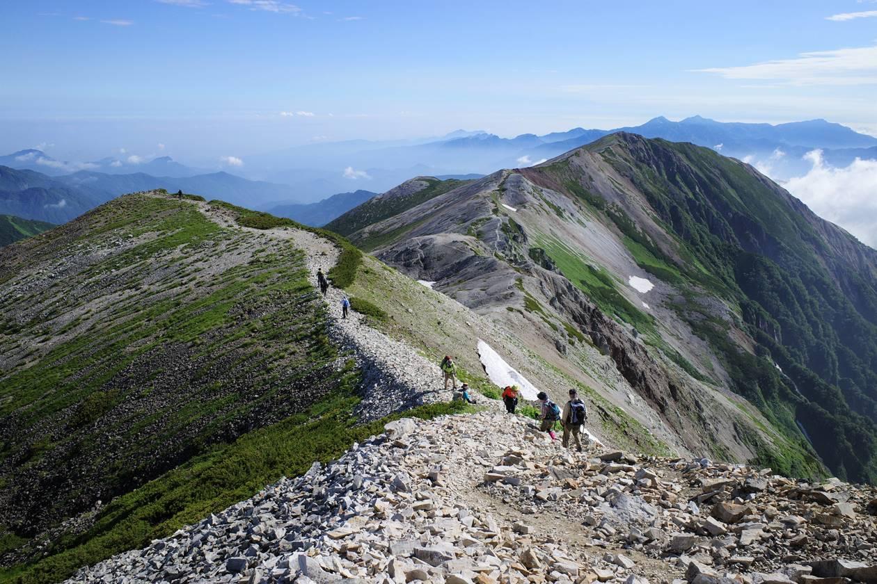 白馬岳の稜線登山