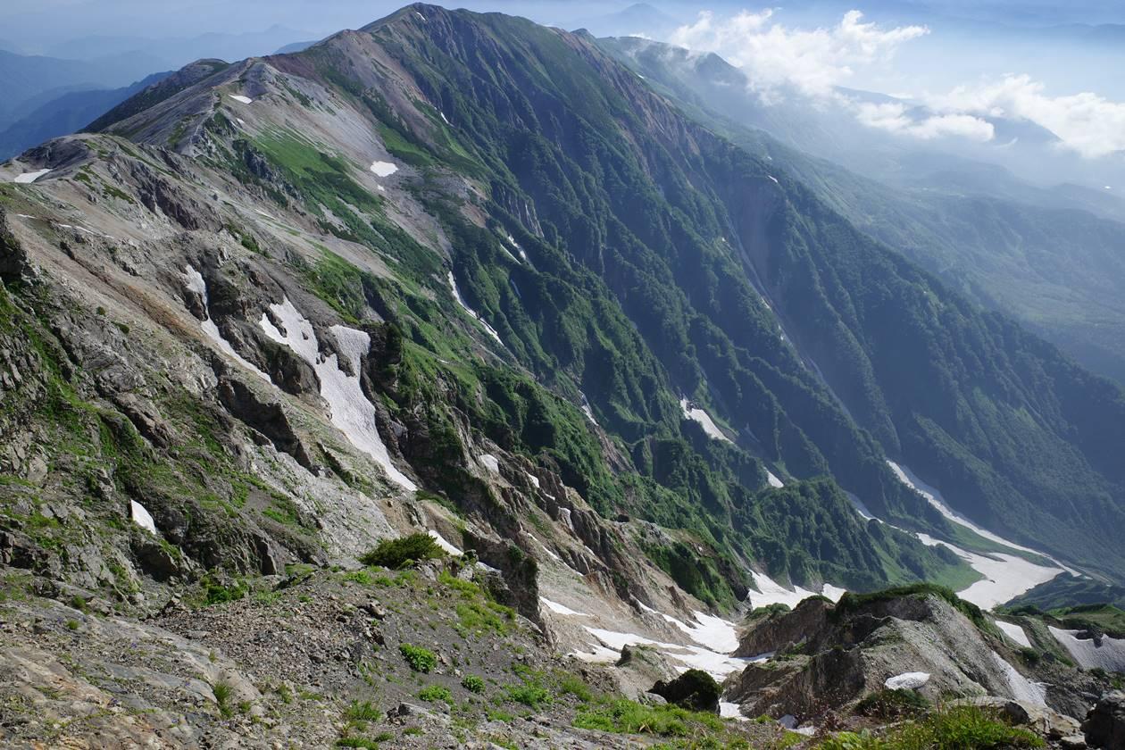 白馬岳の断崖絶壁