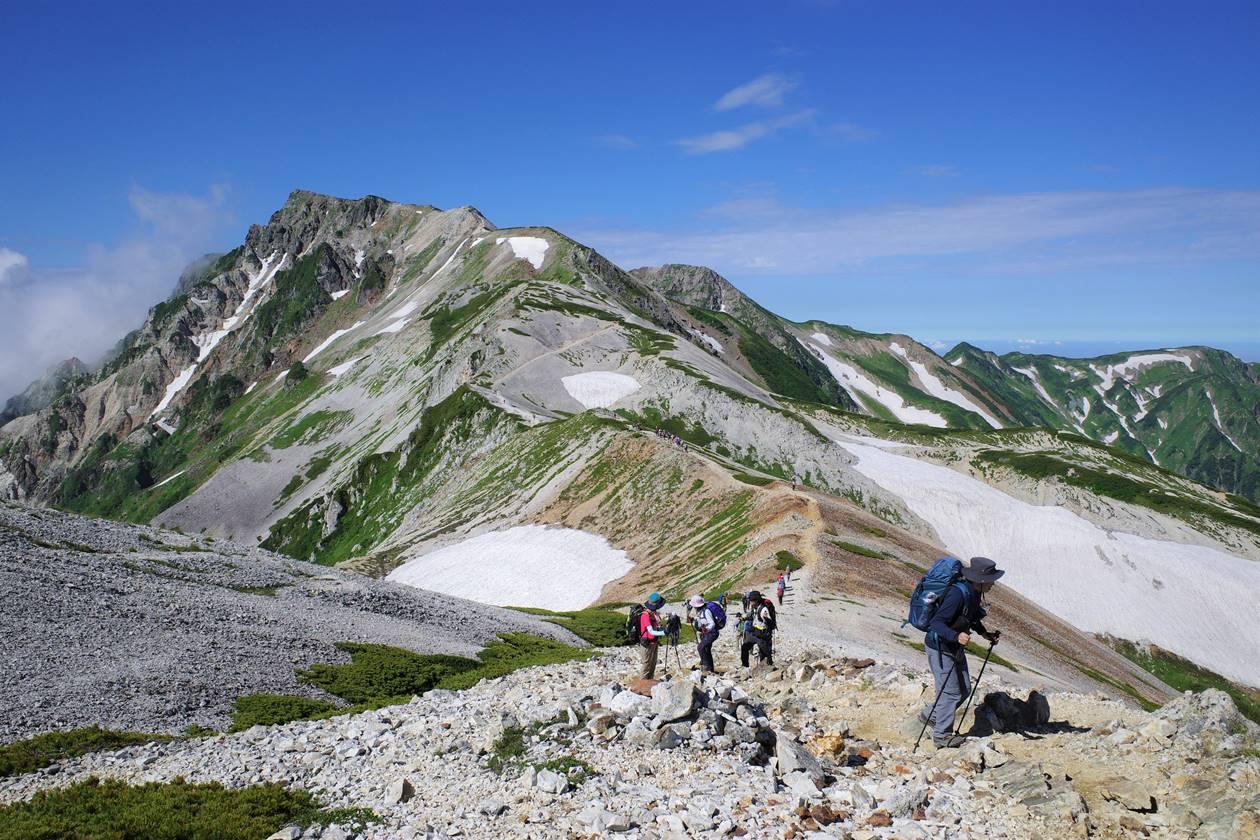 白馬岳稜線と登山者