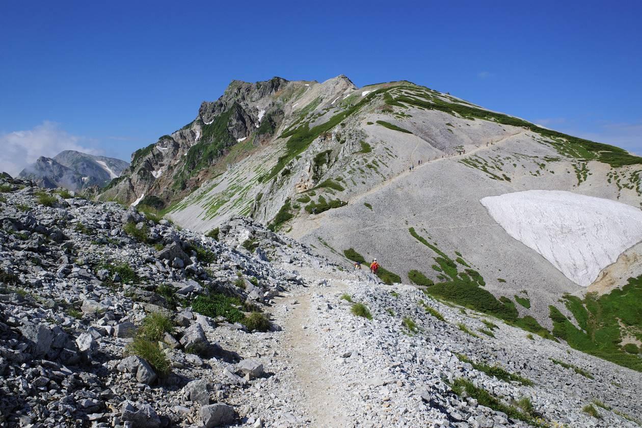 稜線から眺める白馬岳