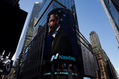 Brad Loncar in Nasdaq tower in Times Square