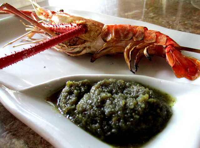 Grilled king prawn with Thai green chili dip