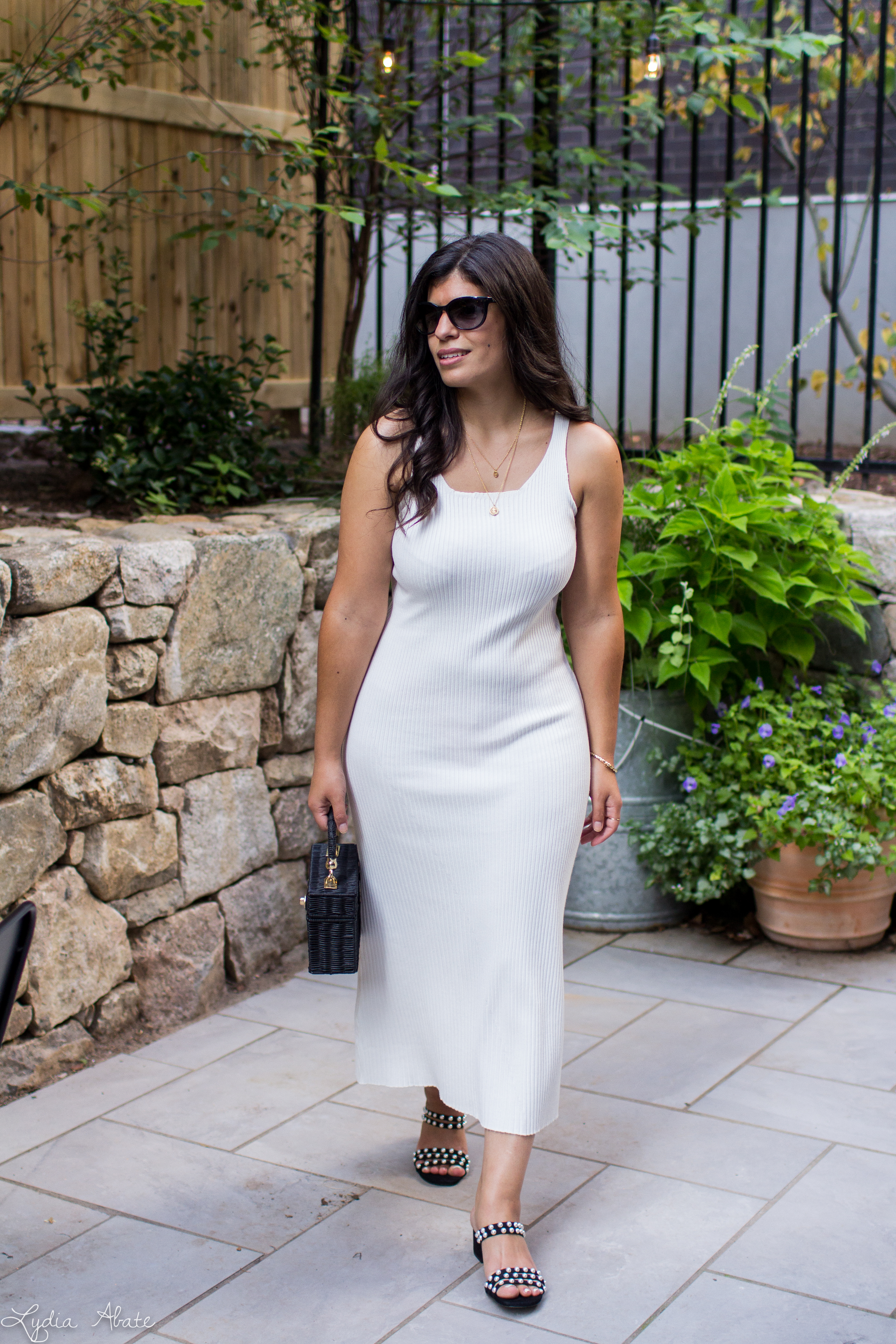 white ribbed midi dress, pearl sandals, black straw bag-9.jpg