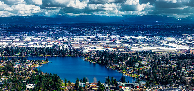 View of Angle Lake and city of Tacoma, WA, after taking off from SeaTac airport, USA-4a