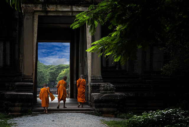 Novice Monks At Angkor Wat