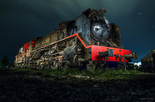 Locomotora de vapor Mikado.