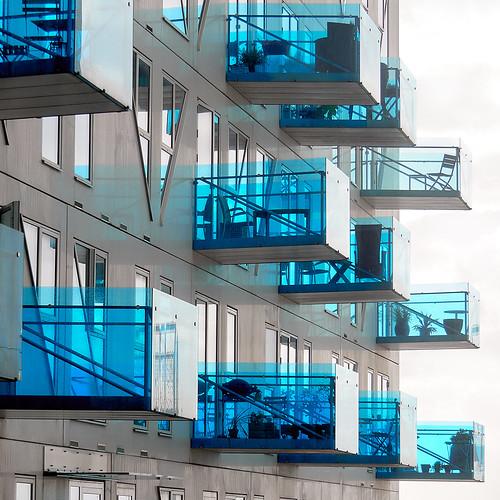 aarhus architecture architektur balcony blau blue building glass isbjerget mzuiko14150mm modern olympusem1 square transparent