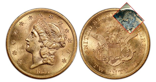 1857-S $20 gold with black crust overlay