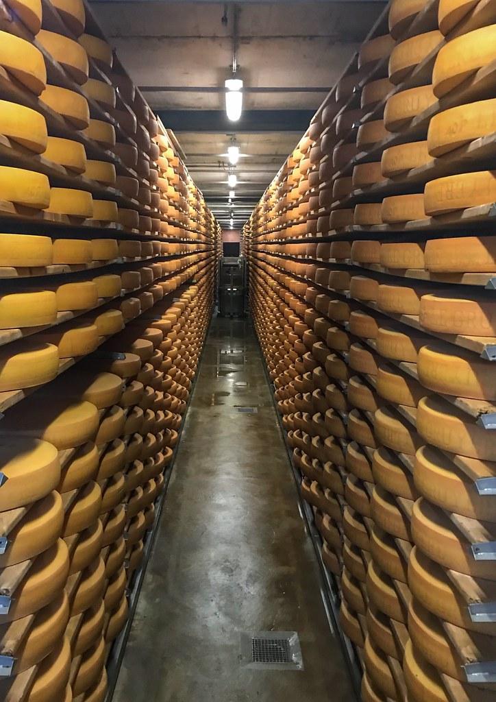La Maison du Gruyère cheese aging cave