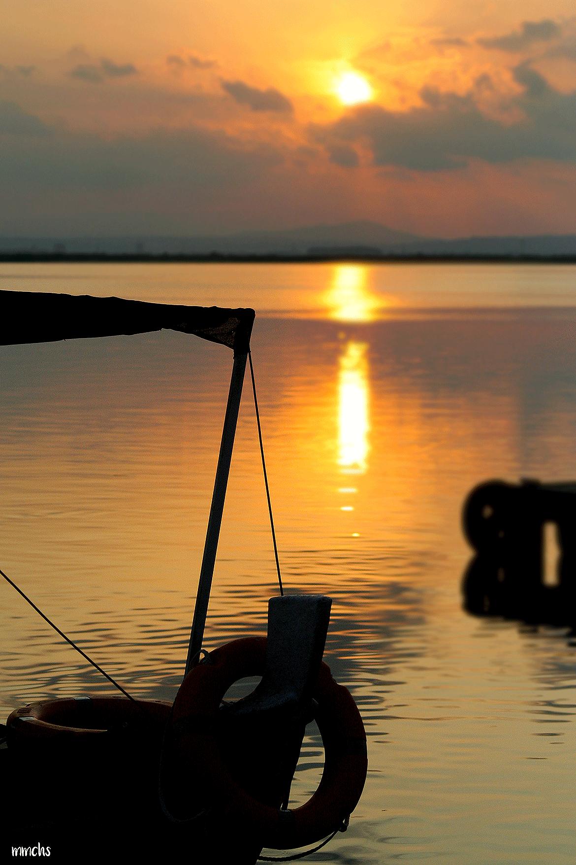 puesta de sol en la albufera Valencia