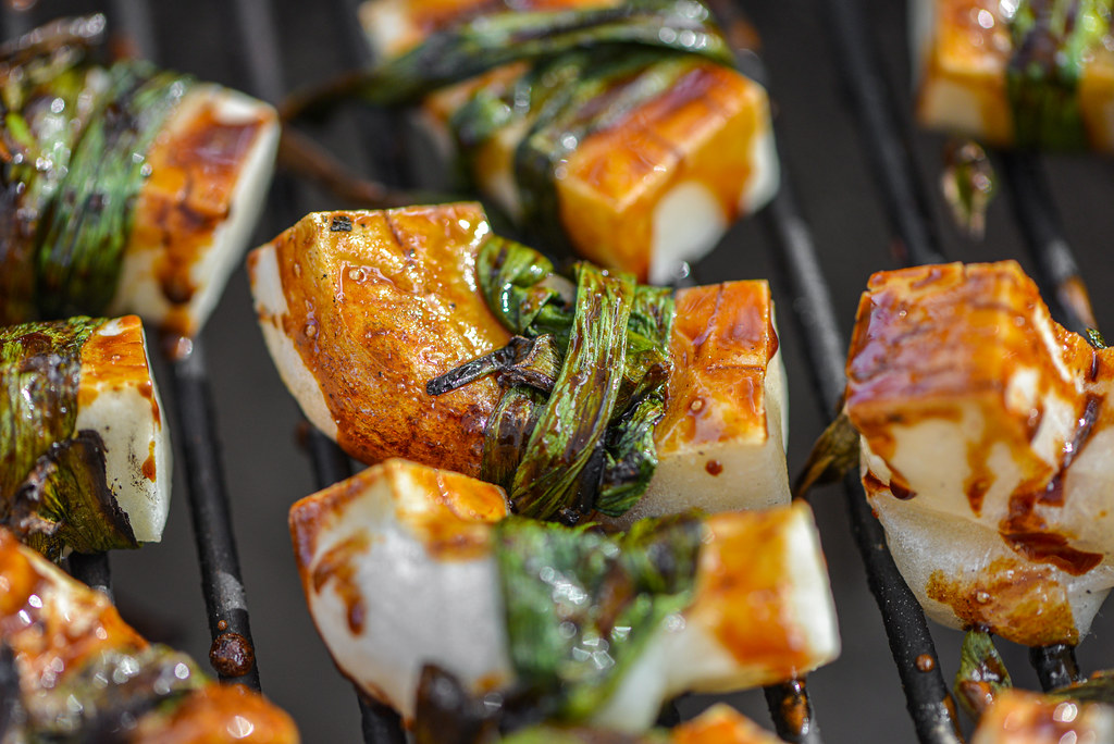 Grilled Scallion-wrapped Mochi