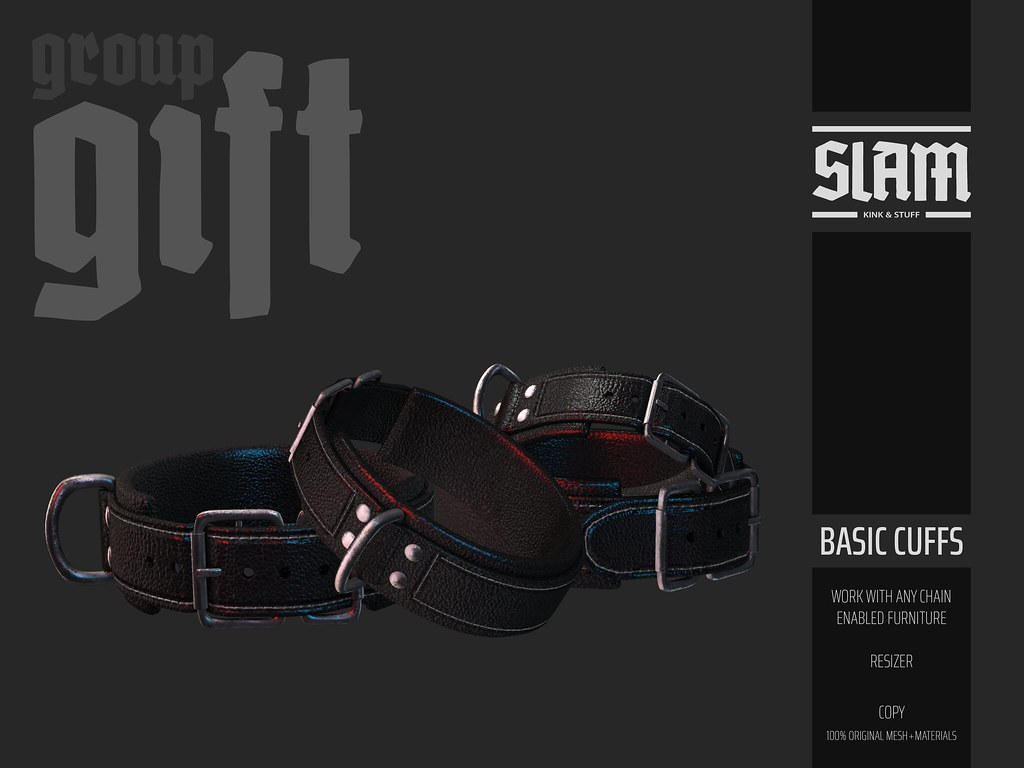 SLAM // group gift // basic cuffs - TeleportHub.com Live!