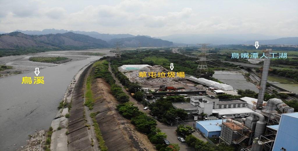 環團指出鳥嘴潭人工湖緊鄰草屯垃圾場,將會有廢水污染。台灣水資源保育聯盟提供