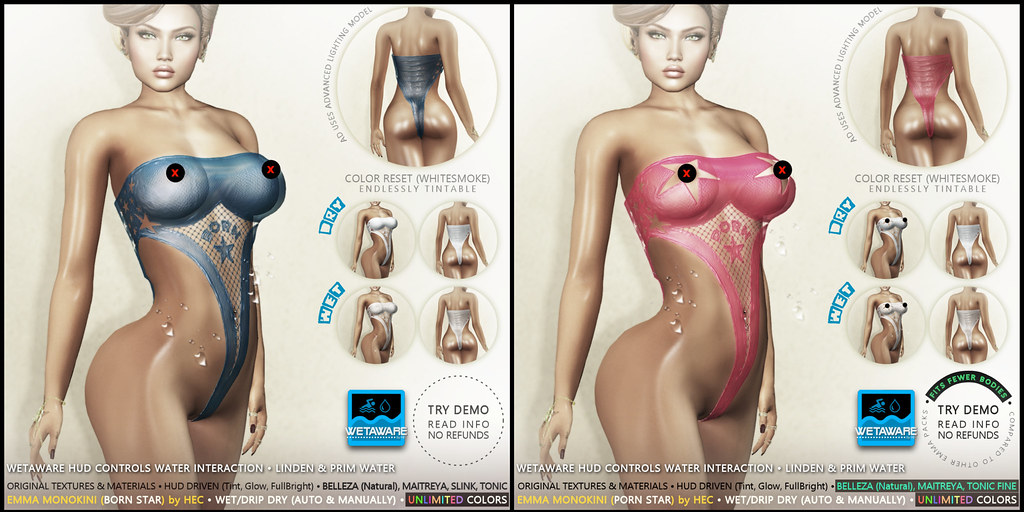 HEC (Event Exclusive) • EMMA WetAware Tintable Monokinis BS & PS PACKS