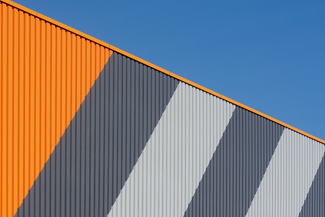 Building with orange and grey stripes