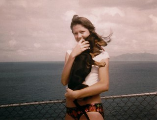 1974 Marie Danvers holding Snag at Bowen