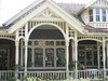 """The Verandah and the Art Nouveau Stained Glass Window of the Dining Room of """"The Gables"""" Queen Anne Villa - Finch Street, East Malvern"""