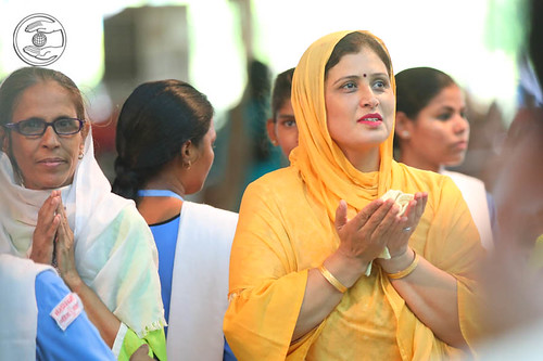 Devotees expressing their gratitude on holy feet
