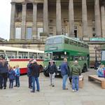Vintage buses outside Preston's Harris Museum