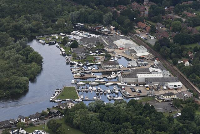 Brundall Bay Marina near Norwich in Norfolk - UK aerial image