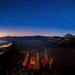 Star and Bromo mountain between night and sunrise time