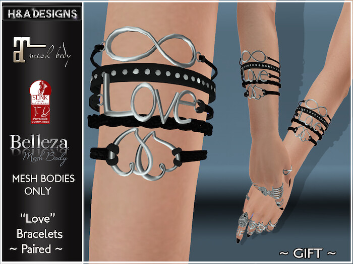 [H&A Designs]-Love Bracelets Gift at our In-World store