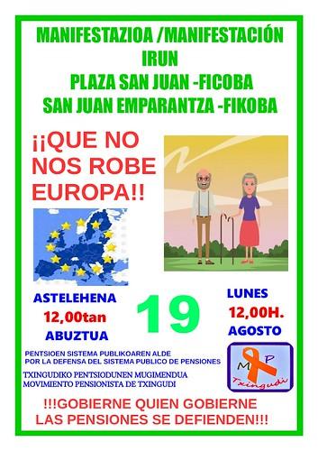 Cartel manifestación 19 agosto Movimiento Pensionistas Txingudi