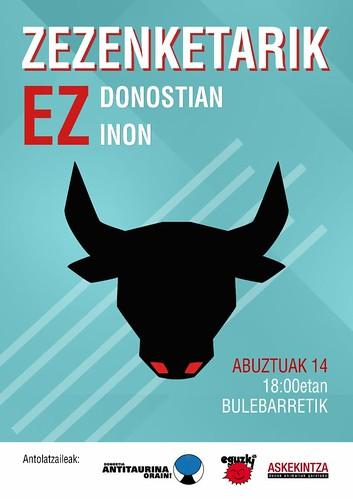 Cartel contra las corridas de toros en Donostia, agosto 2019