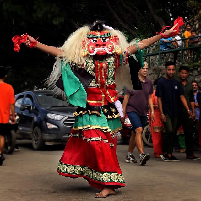 Nepal masked dancer at Swyambhunath, Kathmandu, Nepal .