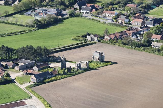 Bromholm Priory near Bacton in north Norfolk - UK aerial image