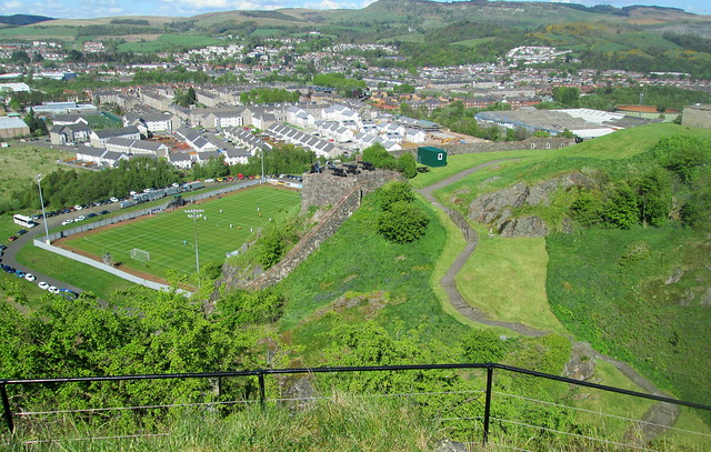 Dumbarton Football Stadium from Dumbarton Rock,