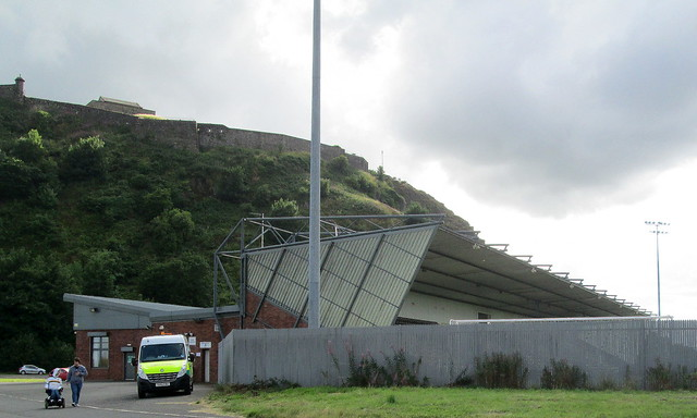 Dumbarton Football Stadium from Car Park and Pedestrain Access.