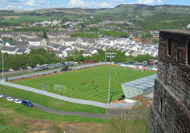 Dumbarton Football Stadium from Dumbarton Rock