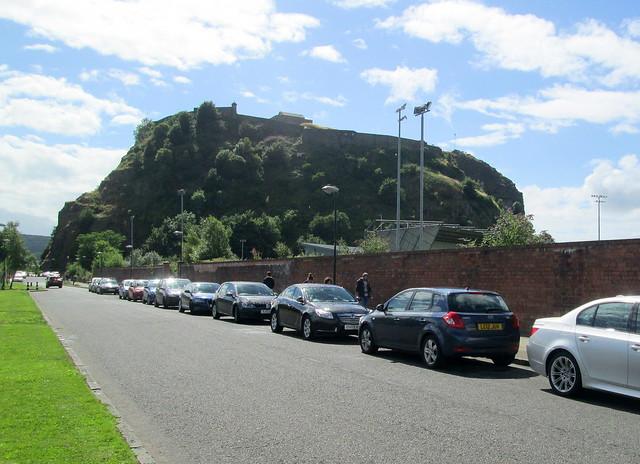 Dumbarton Rock and Dumbarton Football Stadium from Castle Road