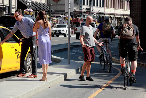 Pedestrian Exasperated with Cyclists in Bicycle Lane