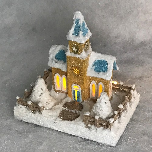 TINY MINI Buff Gold and Blue Putz Church