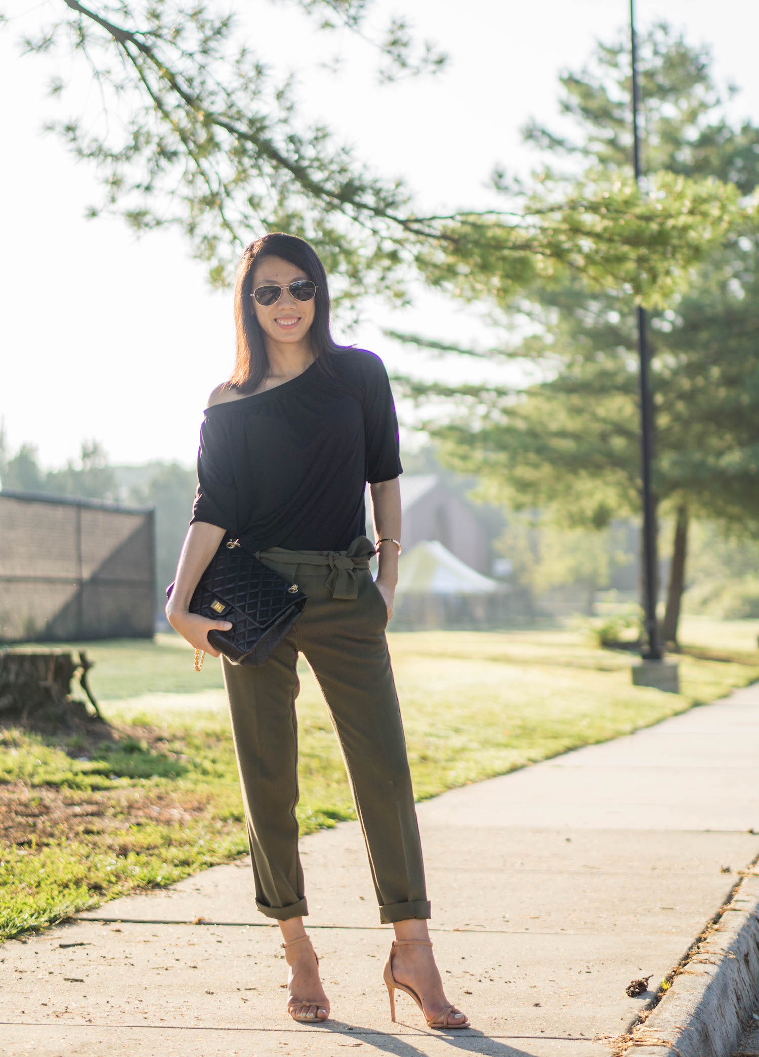 Ann Taylor black matte jersey off the shoulder top, Ann Taylor gold bangle, Chanel reissue in 226, Ann Taylor the ankle pant with tie waist, Schutz Rhana sandals