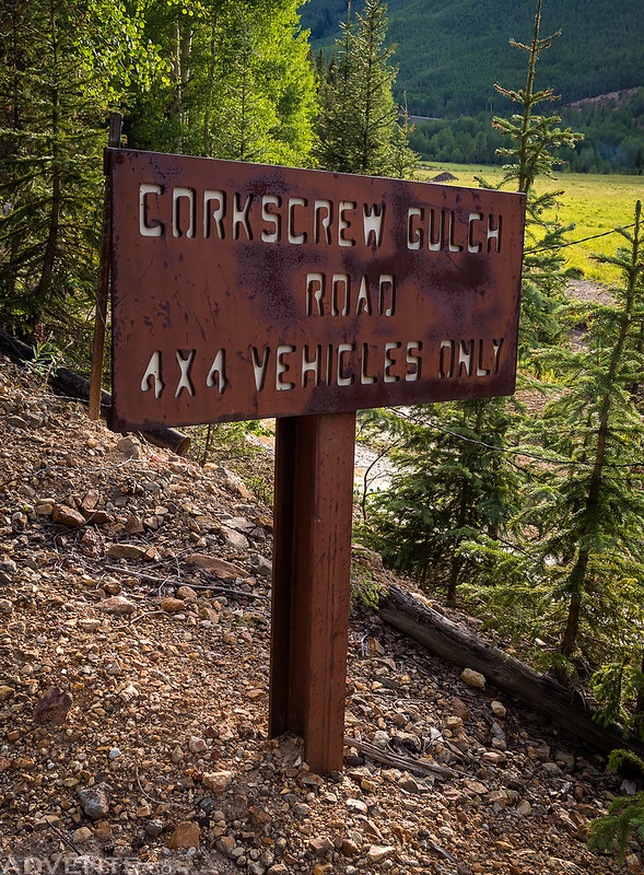 Corkscrew Gulch Road Sign