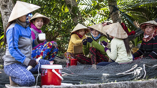 Fishing net maintenance, Kien Giang province Vietnam