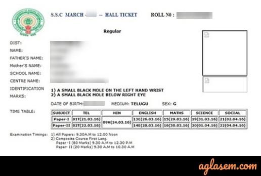 AP SSC Hall Ticket