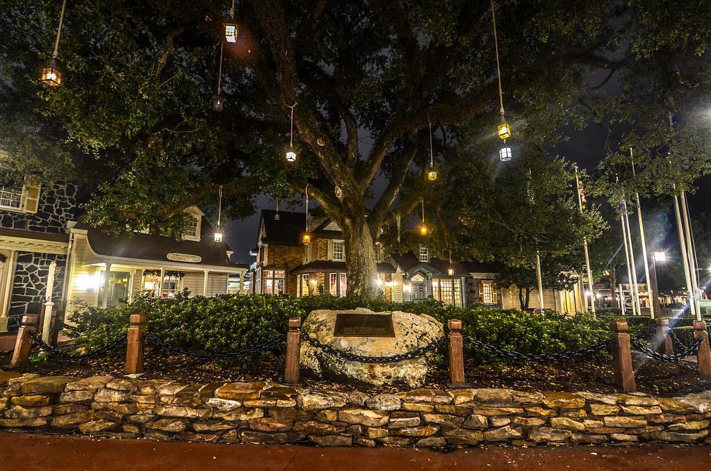 Liberty Square lanterns MK night