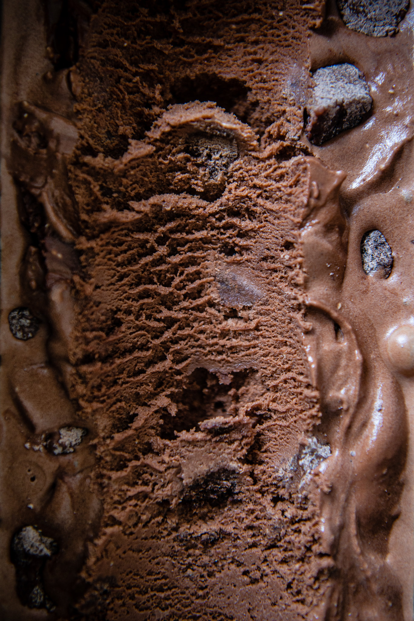 double chocolate mochi bit ice cream with black sesame fudge sauce