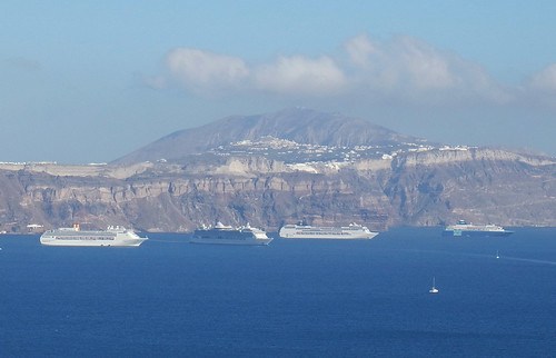 Cruise ships anchored in the Santorini caldera