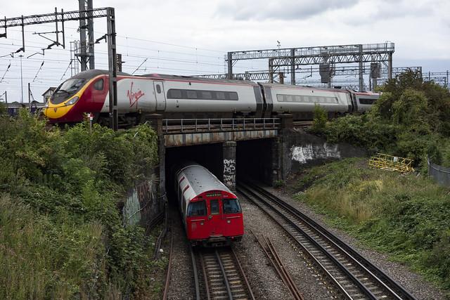 Bakerloo Line Train under Wembley Intercity Depot & Mainline