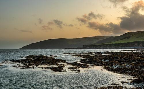 clouds cornwall looe rock rocks sea seaweed sky sunset water westlooe